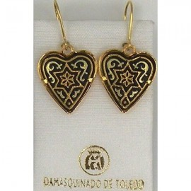 Damascene Gold Heart Star of David Earrings