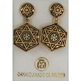 Damascene Gold Earrings Star of David Hexagon Design