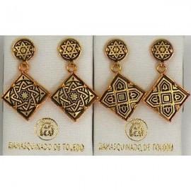 Damascene Gold Earrings Star of David Square