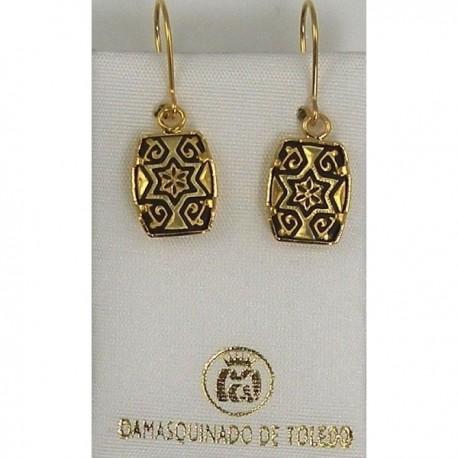 Damascene Gold Earrings Star of David Rectangle