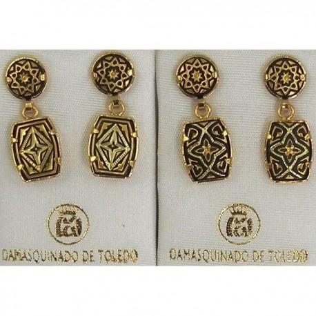 Damascene Gold Star Rectangle Earrings