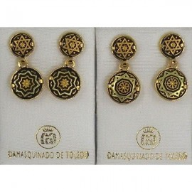Damascene Gold Star of David Round Earrings style 3113