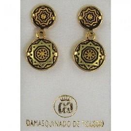 Damascene Gold Star Round Earrings style 3113
