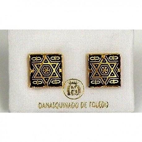 Damascene Gold Star of David Earrings 12mm Square