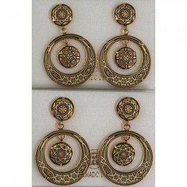 Damascene Gold Star 28mm Round Earrings