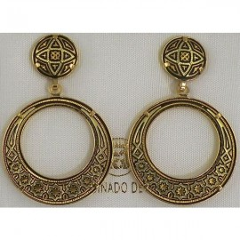 Damascene Gold Geometric 28mm Drop Earrings