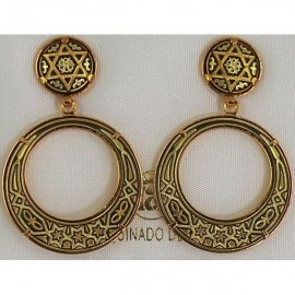 Damascene Gold Star of David 28mm Round Earrings