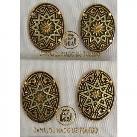 Damascene Gold Oval Star Stud Earrings