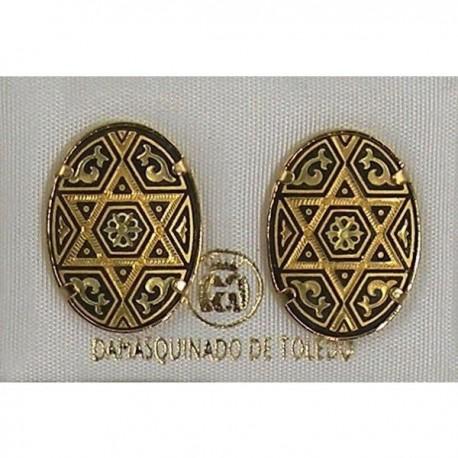 Damascene Gold Oval Star of David Stud Earrings