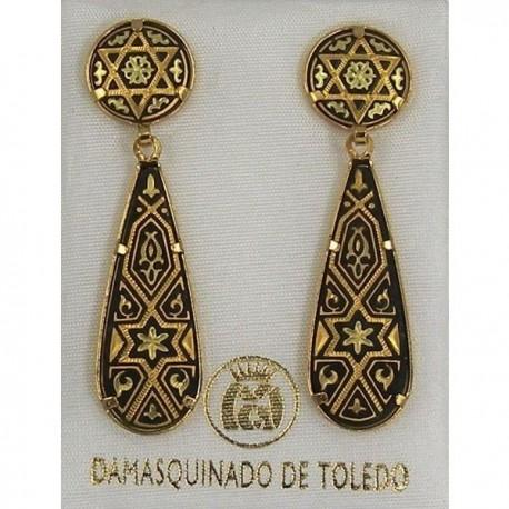 Damascene Gold Star of David Drop Teardrop Earrings
