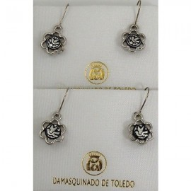 Damascene Silver Bird Flower Drop Earrings