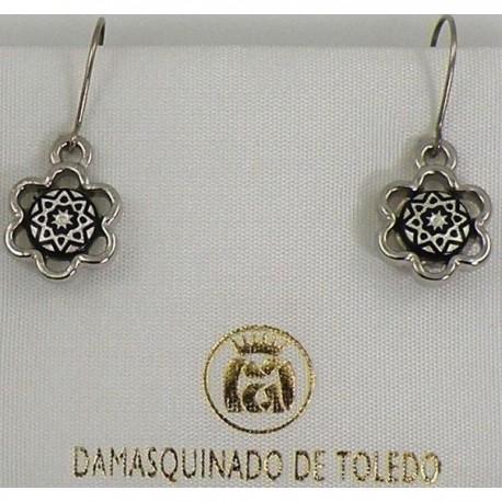Damascene Silver Star Flower Drop Earrings