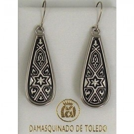 Damascene Silver Star of David Teardrop Earrings