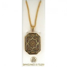 Damascene Gold Star Octagon Pendant 3335