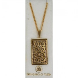 Damascene Gold Star Rectangle Pendant 3355