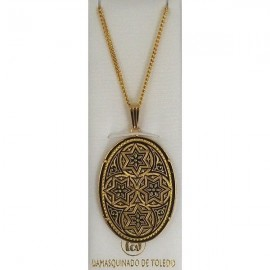 Damascene Gold Star of David Oval Pendant 3356