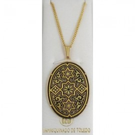 Damascene Gold Star of David Oval Pendant style 3356