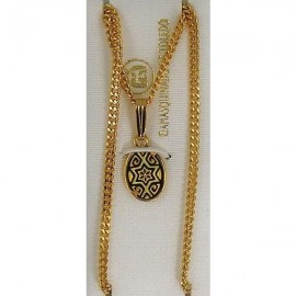 Damascene Gold Star of David Oval Pendant 2279