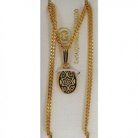 Damascene Gold Star of David Oval Pendant 2279