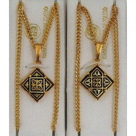 Damascene Gold Geometric Diamond Pendant 2281