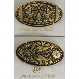 Damascene Gold Bird Oval Brooch 2238