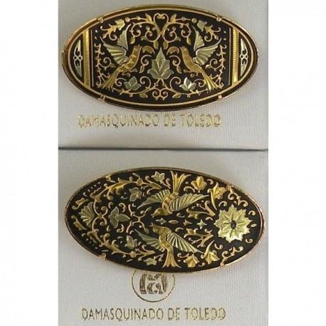 Damascene Gold Bird Oval Brooch 2238