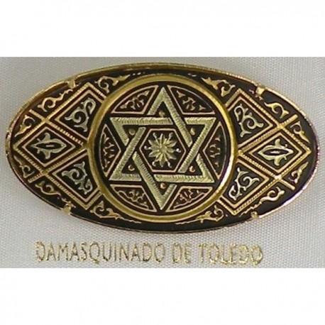 Damascene Gold David Star Oval Brooch 2238