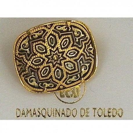 Damascene Gold Geometric Rectangle Brooch 2205