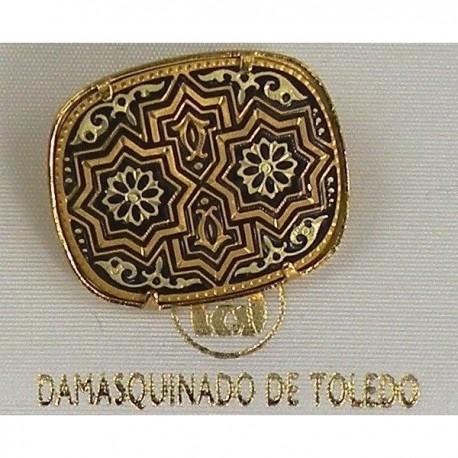 Damascene Gold Star Rectangle Brooch 2205
