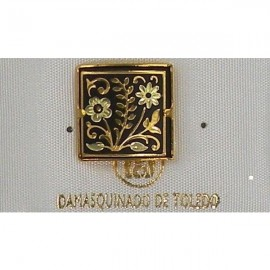 Damascene Gold Flower Round Tie Tack / Pin 2519-2