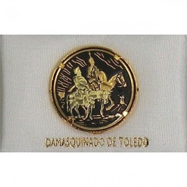 Damascene Gold Don Quixote Round Pin 2520