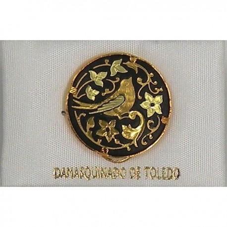 Damascene Gold Bird Round Pin 2520