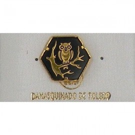 Damascene Gold Owl Hexagon Pin 2532