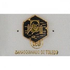 Damascene Gold Bull Hexagon Pin 2532