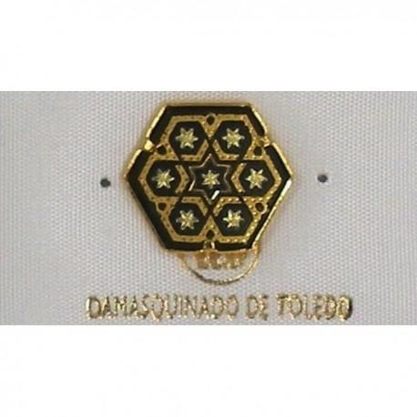 Damascene Gold Star of David Hexagon Pin 2532