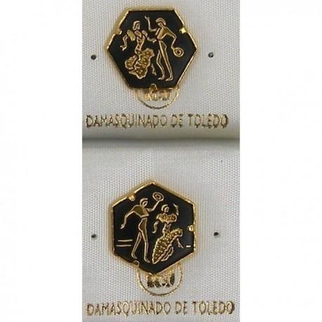 Damascene Gold Flamenco Dancer Hexagon Pin 2532