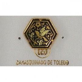 Damascene Gold Bird Hexagon Pin 2532