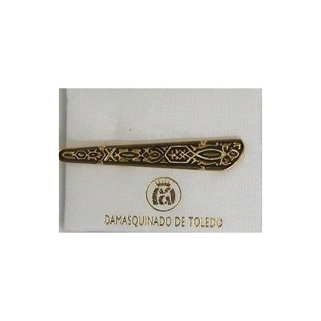 Damascene Gold Mens Tie Bar Geometric 2601