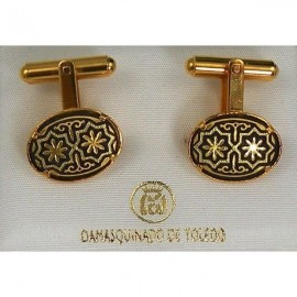 Damascene Gold Mens Cufflinks Oval Star 2510