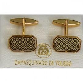 Damascene Gold Mens Cufflinks Rectangle Geometric 2529