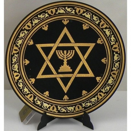 Damascene Gold David Star Round Decorative Plate
