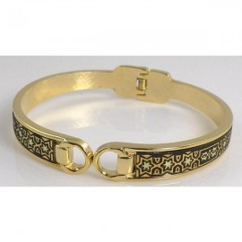 Damascene Gold Star Bangle Bracelet Oval