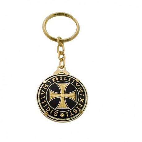 Damascene Templar Cross Keychain Single