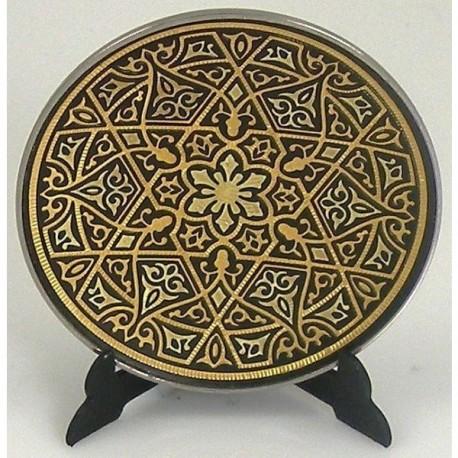 Damascene Gold Geometric Round Decor Plate 16 | 458 x 458 jpeg 80kB