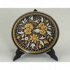 Damascene Gold Silver Decor Plate Flower Design