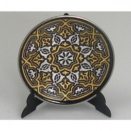 Damascene Gold Silver Decor Plate Geometric Design 2
