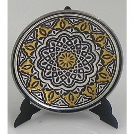 Damascene Gold Silver Geometric Decor Plate 1