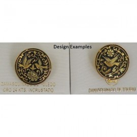 Damascene Gold Bird Round Brooch style 2240