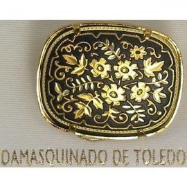 Damascene Gold Flower Rectangle Brooch style 2205