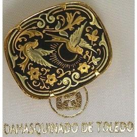 Damascene Gold Bird Rectangle Brooch style 2205